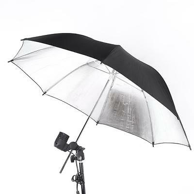 Photo Studio Strobe Flash Light Reflector Black Silver Umbrella 102cm/40in I5L6