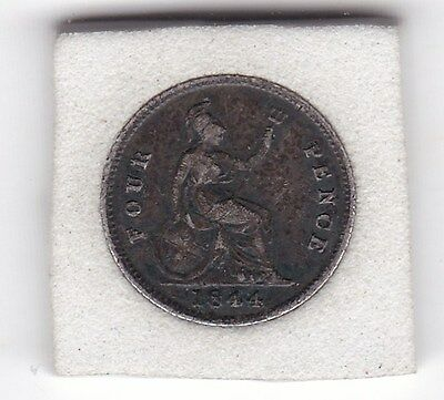 Queen  Victoria  1844  Four  Pence  (Groat)  Coin  (92.5% Silver)