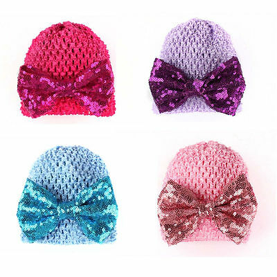 Knitted Hat Sequin Bowknot Infant Cap Warm Soft Beanie Baby Toddler Kid Girl Hat