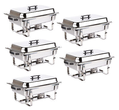 5 PACK Stainless Steel Chafing Dish 8 QT Full Size Folding Chafer Buffet