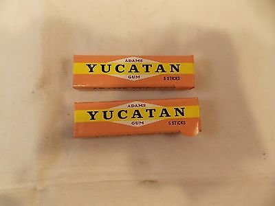 Lot of 2 Vtg Adams Yucatan Gum Sealed Packages of 5 Sticks-For Display Only