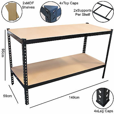 1.49m Black Heavy Duty Steel Workbench/Station/Shelves for Garage/Warehouse/Shed