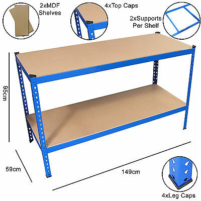 Blue Heavy Duty Steel Work Bench/Station/Wood Shelves for Garage/Warehouse/Shed