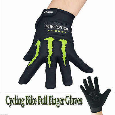 Monster Black Cycling Bicycle Bike Full Finger Gloves Size L