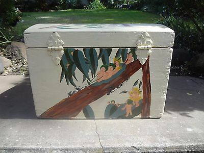 Vintage wood chest box hand painted snugglepot antique toy doll child baby art