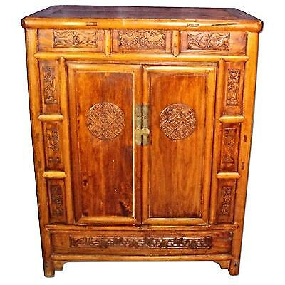 Early Chinese Carved Cabinet Armoire Chest Wardrobe Buffet China Asian Antique