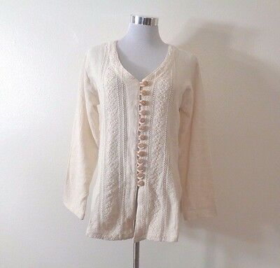 Vintage Hippie Beige Gauze Cotton Embroidered Wood Button Front Boho Shirt
