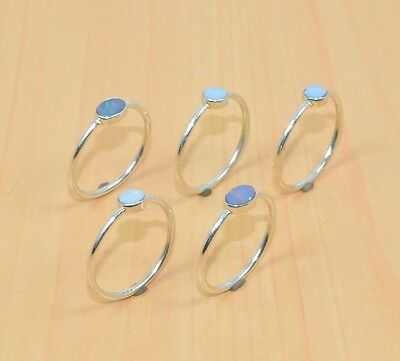 Wholesale 5Pc 925 Solid Sterling Silver Natural Blue Australian Opal Ring Lot