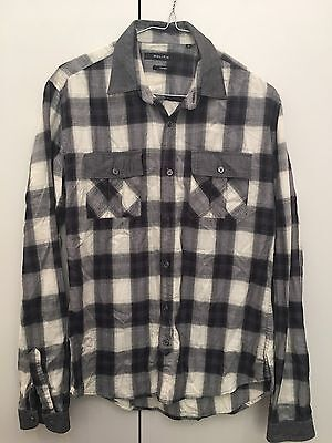 Politix Mens Shirt 100% Cotton Flannel Button Up Long Sleeve Size Small Grey Top