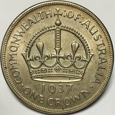 1937 AUSTRALIAN CROWN..STERLING SILVER in UNC GRADE..QUALITY COIN..SCARCE.
