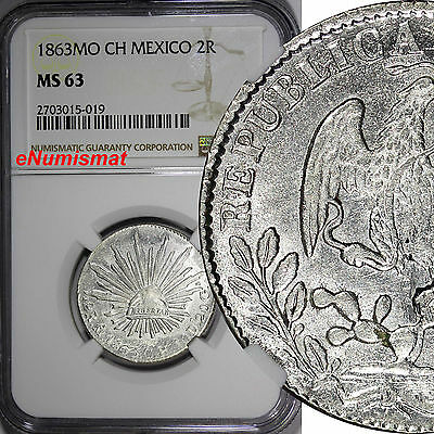 Mexico Silver 1863 MO CH 2 Reales NGC MS63 Mexico City Mint KM# 374.10