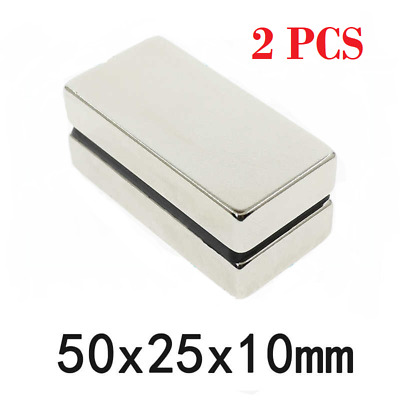 2 pcs Block Magnet 50x25x10mm N52 Super Strong Rare Earth Magnets