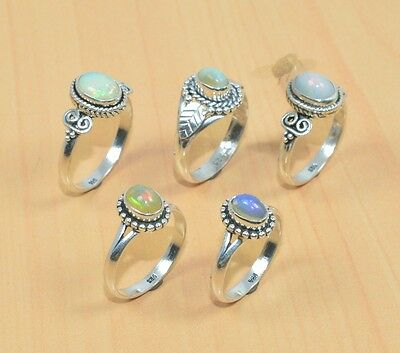 Wholesale 5Pc 925 Solid Sterling Silver Natural Welo Ethiopian Opal Ring Lot