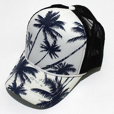 Summer Unisex Coconut Tree Palm Beach Adjustable Snapback Mesh Hat Baseball Cap
