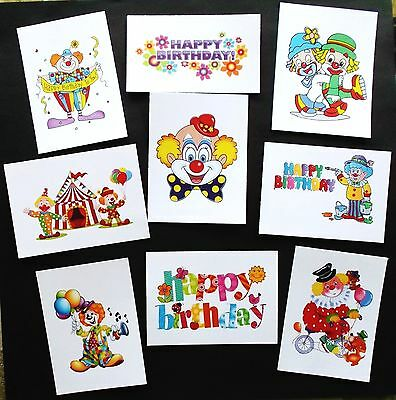 CLOWNS HAPPY BIRTHDAY CARD TOPPERS x 9 PIECES for KIDS, FUN CARDS