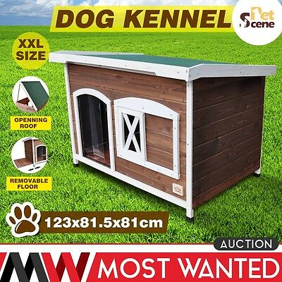 Waterpoof XXL Wooden Dog Kennel House Pet Animal Shelter Removable Floor Outdoor