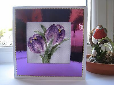 "Completed cross stitch card - Spring flower. Crocus. Blank. Approx 5"" x 5"""