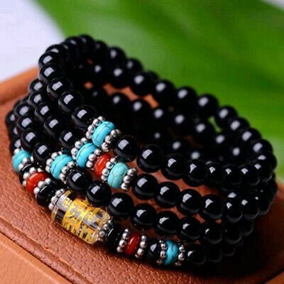 6mm Obsidian Buddhist Black Glaze 108 Prayer Beads Mala Bracelet/Necklace New
