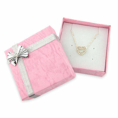 Girls diamante heart necklace - small diamante heart - arrives in pink bowed box