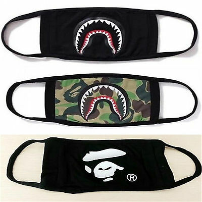 A Bathing Ape Bape Shark Black Face Mask Camouflage Mouth-muffle BAPE