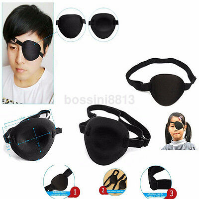 Black Medical Use Concave Eye Patch Groove Washable Eyeshades Adjustable Strap