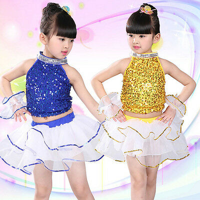 Girls New Sequin Modern Jazz Hip Hop Dance Competition Costume Dancing Top Skirt