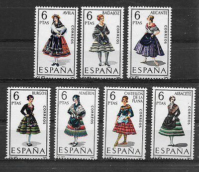 Spain , 1967 , Regional Costumes Issue , Set Of 7 Stamps Perf , Mnh