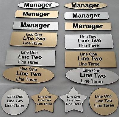 Gold/silver Engraved Name Badge Office Staff Custom Rectangle Oval Star Circle