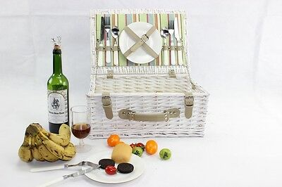 Vintage Antique Picnic Hamper Basket for 2 Persons With Easy Carry Handle