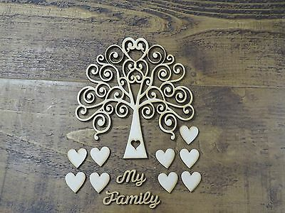 MDF Family Tree Set with hearts and wording. Craft, wooden shape