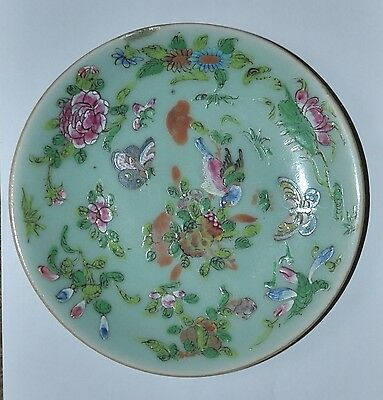 antique Chinese ceramic plate, colourful, sign at the bottom, diameter of 18 cm