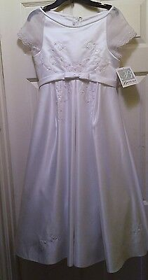 Size 12 Girls White Sequined Dress Occasions Communion Wedding Flower Girl