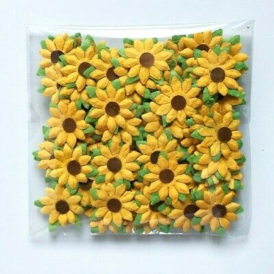 100 Mini Sunflower 20 mm Mulberry Paper Flowers Wedding Card Scrapbook Craft DIY