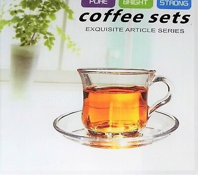 Set Of Two Clear Glass High Quality Coffee Tea Chai Cup & Saucer Set