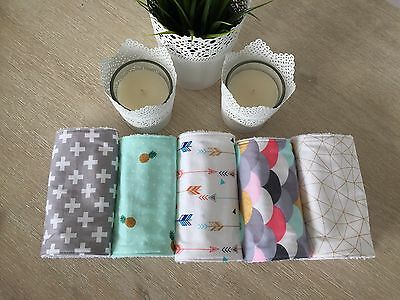 Baby Burp Cloth / Dribble Cloth - Set Of Five (5)