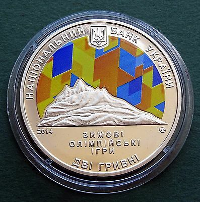2014 Ukraine Coin 2 Hryvni UAH XXI Olympic Winter Games Sochi UNC Color Rare