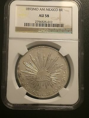 1893 Mo AM NGC AU58 Graded MEXICO CAP & RAYS 8R 8 Reales Silver 100% Genuine
