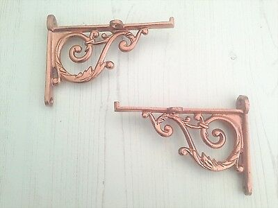 Pair Victorian Copper Scroll Cast Iron Shelf Bracket Vintage Rustic Antique 4.5""