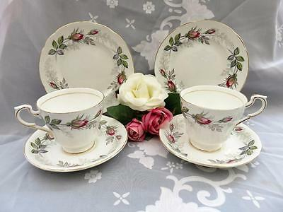 Fab Vintage Pair Paragon Bridal Rose Trio Cup Saucer & Side Plate Wedding Party