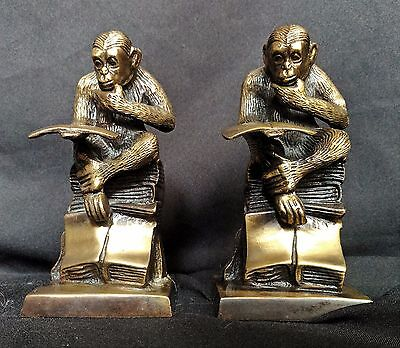 PAIR of Vintage Bronze Cast Statue of Monkeys Sitting Reading a Book ~ Bookends