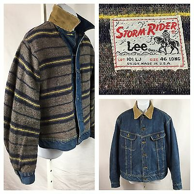 VTG 1970's ICONIC LEE STORM RIDER 101 LJ Blanket Lined Jacket 46 Long Union Made