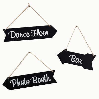 3 Wegweiser Schilder Set Bar Dance Floor Photo Booth Aufhängen Hochzeit Party