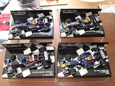 Minichamps 1/43 Red Bull Racing RB1 RB2,RB3 and RB4. Coulthards last F1 drives