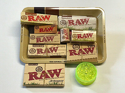 RAW Organic 1-1/4 Rolling Papers Starter Pack with Rolling Tray RAWthentic