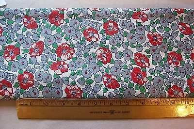 Vtg 40's Cotton Percale Dress Applique Quilt Fabric 36w Pretty Floral