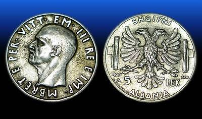 5 LEK . SILVER COIN. MADE IN ITALY . ALBANIA 1939 - nr 8