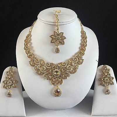 Beige Gold Indian Costume Jewellery Necklace Earrings Crystal Set Bridal New 78