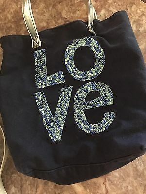 """""""Love"""" Navy Blue Beach Tote For Girls"""