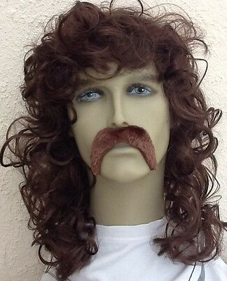 Pop Star Style, Brown Wavy/Curly Men's Fancy Dress Wig & Thick Droop Moustache