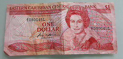 Paper Money Eastern Caribbean Central Bank One Dollar  -- Serial Number E080045L